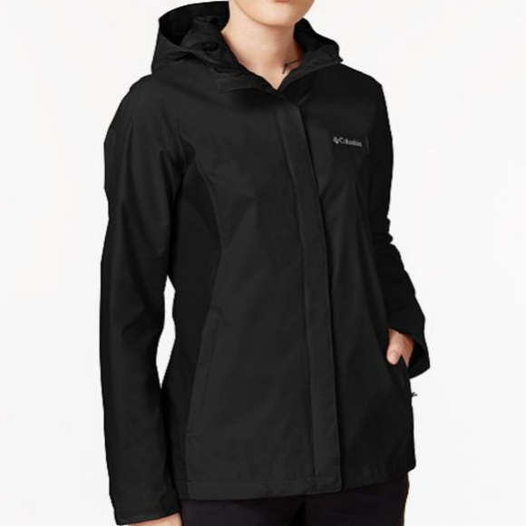 fd5a756e85b Columbia Jackets   Blazers - COLUMBIA Womens Black Rain Coat Jacket w  Hood  XS